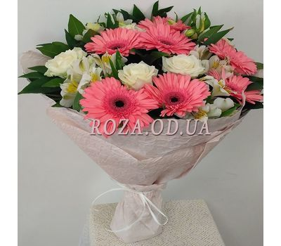 """Bouquet of roses, gerberas and alstromeries 6"" in the online flower shop roza.od.ua"