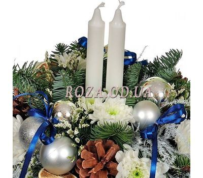 """""""Christmas composition in a box with candles 1"""" in the online flower shop roza.od.ua"""