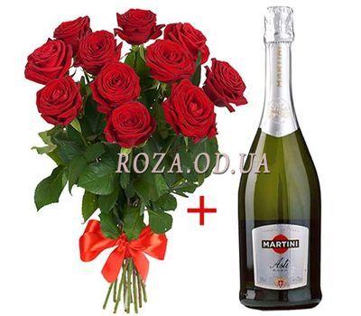 """""""11 роз и Martini Asti"""" в интернет-магазине цветов roza.od.ua"""