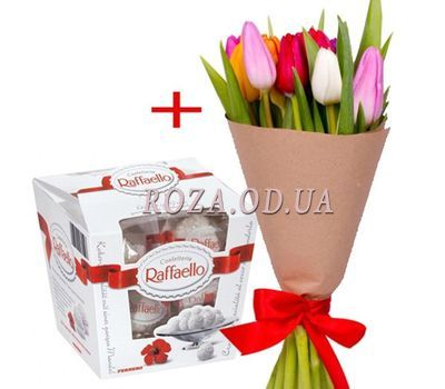 """11 tulips and Raffaello"" in the online flower shop roza.od.ua"