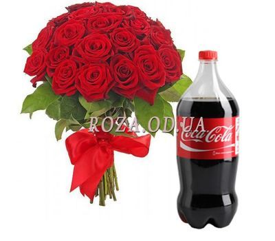 """25 red roses with a cola"" in the online flower shop roza.od.ua"
