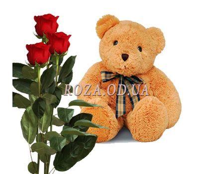 """""""3 красные розы и мишка"""" в интернет-магазине цветов roza.od.ua"""
