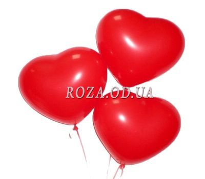 """3 balloons in the shape of the heart"" in the online flower shop roza.od.ua"