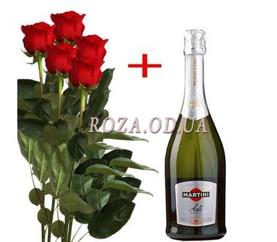 """5 Roses and Martini Asti"" in the online flower shop roza.od.ua"
