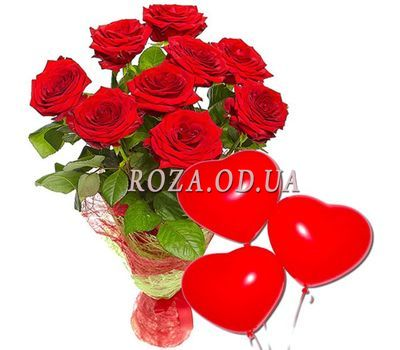 """9 red roses and balls"" in the online flower shop roza.od.ua"