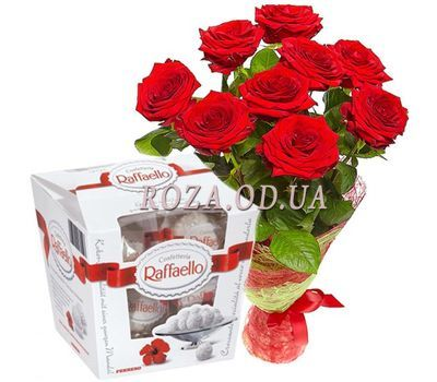 """9 Roses and Raffaello"" in the online flower shop roza.od.ua"