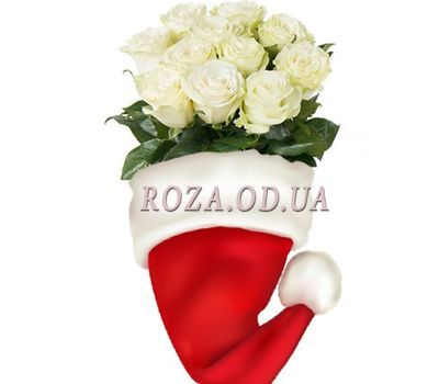 """White roses from Santa Claus"" in the online flower shop roza.od.ua"