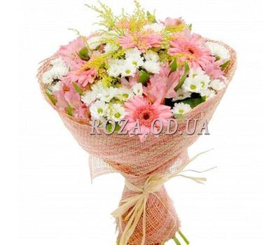 """Bouquet of flowers from chrysanthemums and gerberas"" in the online flower shop roza.od.ua"