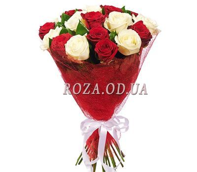 """Bouquet of 17 red and white roses"" in the online flower shop roza.od.ua"