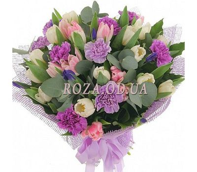 """Bouquet of carnations and tulips"" in the online flower shop roza.od.ua"
