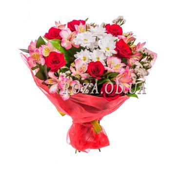 """""""Bouquet of roses, alstromeries and chrysanthemums"""" in the online flower shop roza.od.ua"""