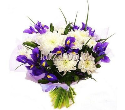 """""""Bouquet of chrysanthemums and irises"""" in the online flower shop roza.od.ua"""