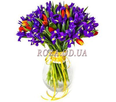 """Bouquet of irises and tulips"" in the online flower shop roza.od.ua"