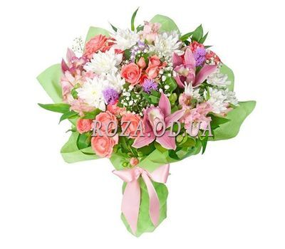 """Bouquet of 3 orchids, 4 bush roses, 3 alstromeries and 3 chrysanthemums"" in the online flower shop roza.od.ua"