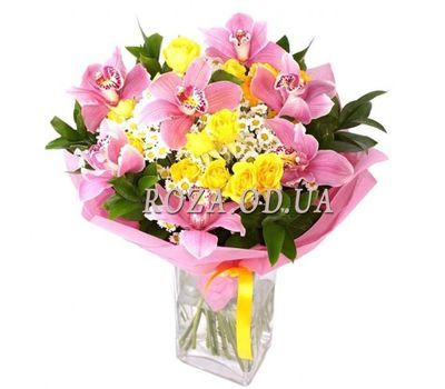 """""""Bouquet of 7 orchids, 3 bush roses, and 5 chrysanthemums"""" in the online flower shop roza.od.ua"""