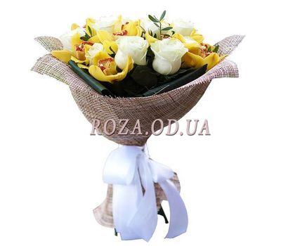 """Bouquet of 10 roses and 9 orchids"" in the online flower shop roza.od.ua"
