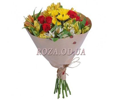 """Bouquet of roses, alstromeries and chrysanthemums"" in the online flower shop roza.od.ua"