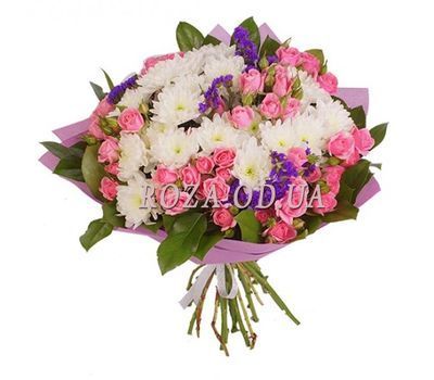 """Bouquet of 10 bush roses and 5 chrysanthemums"" in the online flower shop roza.od.ua"