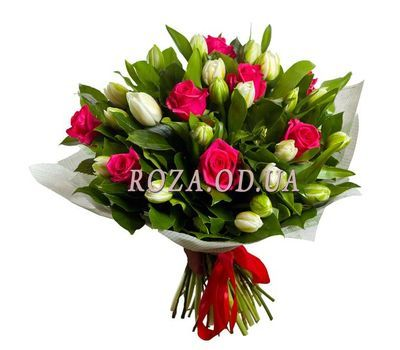 """Bouquet of roses and tulips"" in the online flower shop roza.od.ua"