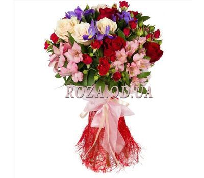 """Bouquet of roses, irises and alstroemerias"" in the online flower shop roza.od.ua"