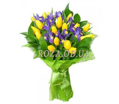 """Bouquet of tulips and irises"" in the online flower shop roza.od.ua"