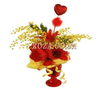 """Bouquet with amaryllis and mimosa"" in the online flower shop roza.od.ua"