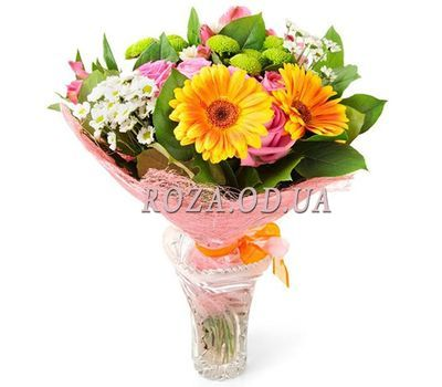 """Bouquet of gerberas, roses, alstromeries and chrysanthemums"" in the online flower shop roza.od.ua"