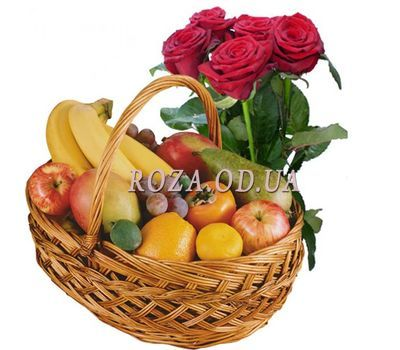 """""""Fruit basket and 5 roses"""" in the online flower shop roza.od.ua"""