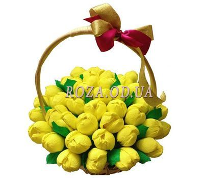 """Basket of tulips from sweets"" in the online flower shop roza.od.ua"