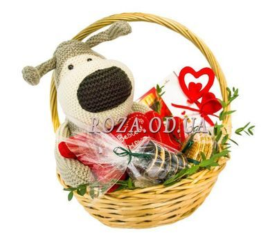 """Cart for Valentine"" in the online flower shop roza.od.ua"