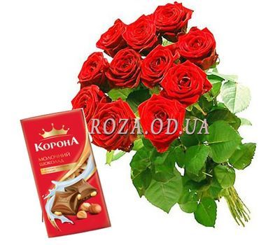 """""""11 roses + chocolate"""" in the online flower shop roza.od.ua"""