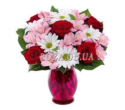 """Bouquet of roses, chrysanthemums and alstroemerias"" in the online flower shop roza.od.ua"