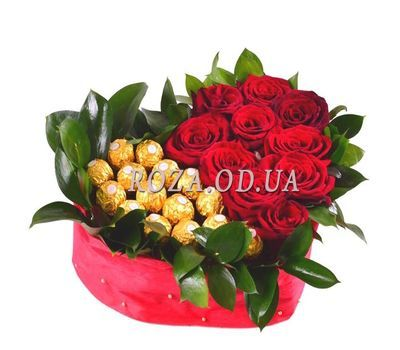 """Heart of Roses and Ferrero"" in the online flower shop roza.od.ua"