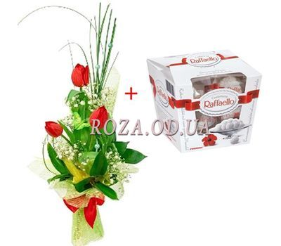 """Tulips and Raffaello"" in the online flower shop roza.od.ua"