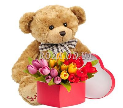 """""""Tulips in a box and a teddy bear"""" in the online flower shop roza.od.ua"""