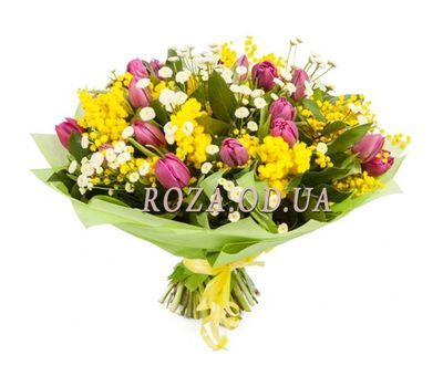 """""""Spring bouquet with mimosa"""" in the online flower shop roza.od.ua"""