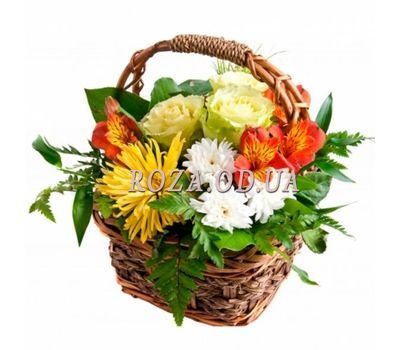"""Bright basket with flowers"" in the online flower shop roza.od.ua"