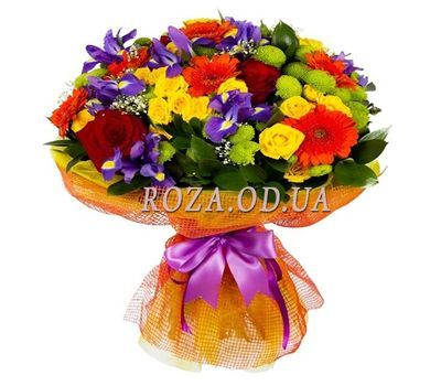 """Bright bouquet with irises"" in the online flower shop roza.od.ua"