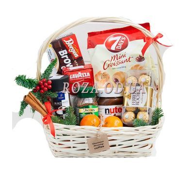 """""""Basket with coffee for the New Year"""" in the online flower shop roza.od.ua"""