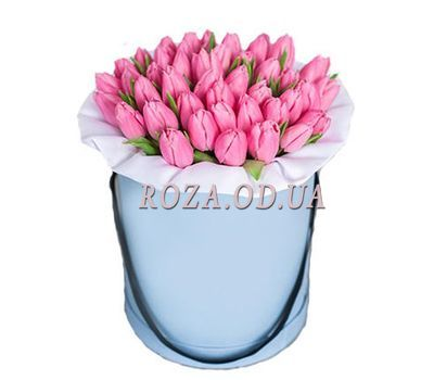 """Pink tulips in a box"" in the online flower shop roza.od.ua"
